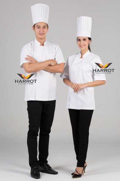 White short sleeve chef jacket