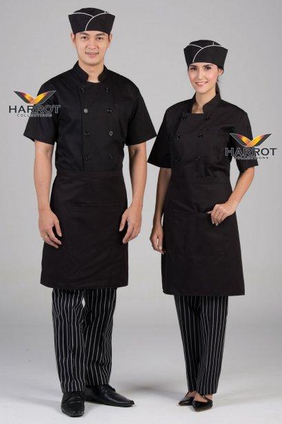 Black short sleeve chef jacket