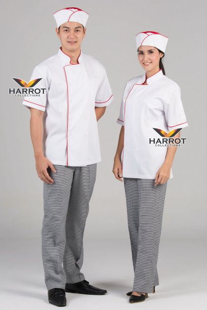 Red piping white short sleeve chef jacket