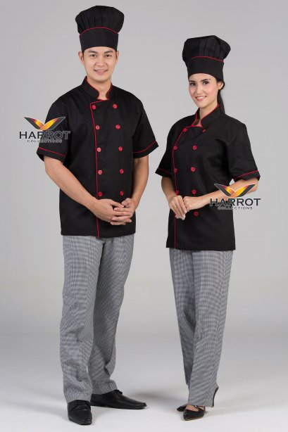 Red piping black short sleeve chef jacket