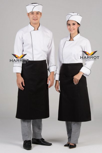 Black piping white long sleeve chef jacket