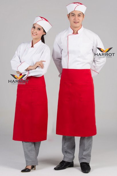 Red piping white long sleeve chef jacket