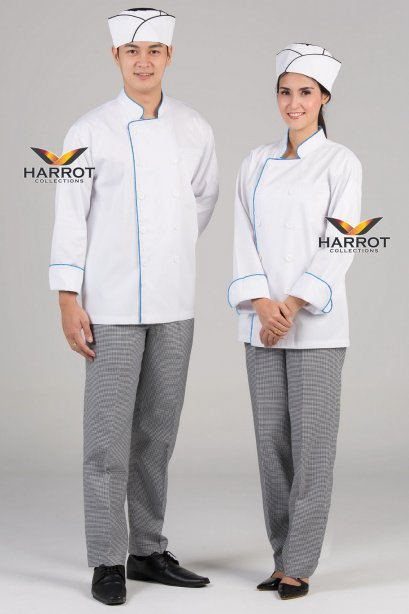Blue piping white long sleeve chef jacket