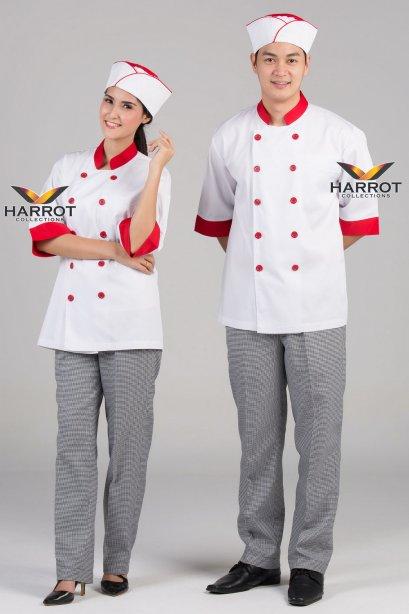 เสื้อกุ๊ก เสื้อเชฟ ชุดเชฟ เสื้อพ่อครัว แขนสามส่วน สีขาวปกแดง(FSS0301)