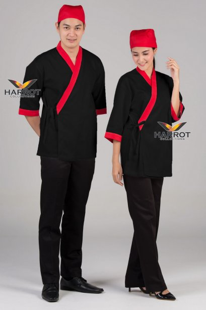 Red piping black Japanese Chef Jacket