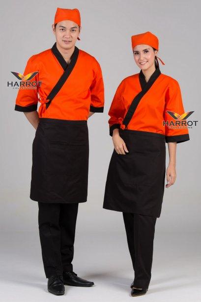 Black piping orange Japanese Chef Jacket