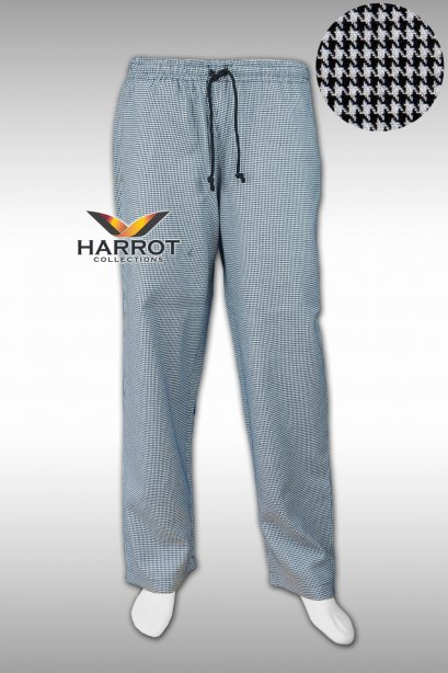 Houndstooth elastic waist chef trouser