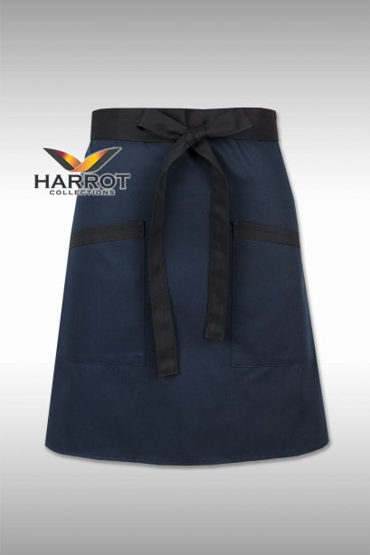 Dark Blue Half Short Apron (Black Long Tie)