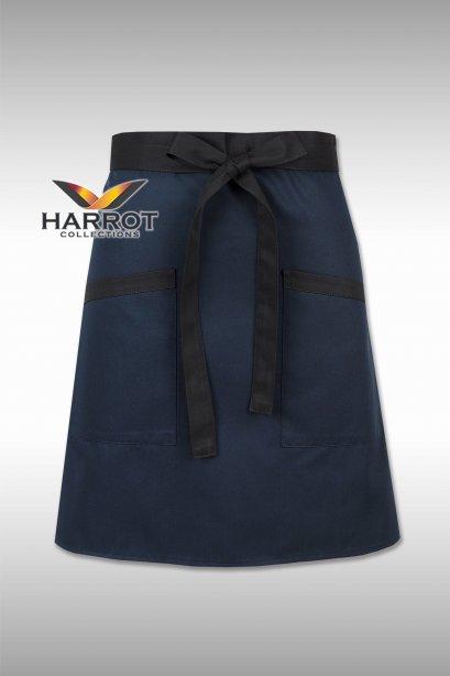 Dark Blue Half Short Apron (Black Long Tie)