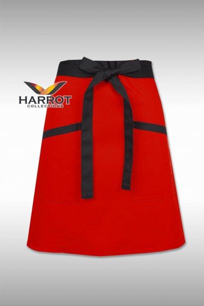 ผ้ากันเปื้อน ผ้ากันเปื้อนเชฟ ผ้ากันเปื้อนพ่อครัว ผ้ากันเปื้อนกุ๊ก ผ้ากันเปื้อนเสิร์ฟ ครึ่งสั้น สีแดง สายยาวผูกหน้าสีดำ (FSA0172)