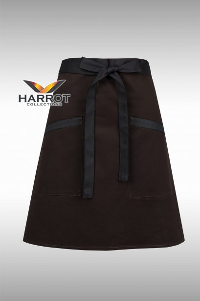 Brown Half Short Apron (Black Long Tie)