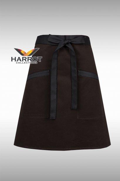 ผ้ากันเปื้อน ผ้ากันเปื้อนเชฟ ผ้ากันเปื้อนพ่อครัว ผ้ากันเปื้อนกุ๊ก ผ้ากันเปื้อนเสิร์ฟ ครึ่งสั้น สีน้ำตาล สายยาวผูกหน้าสีดำ (FSA0173)