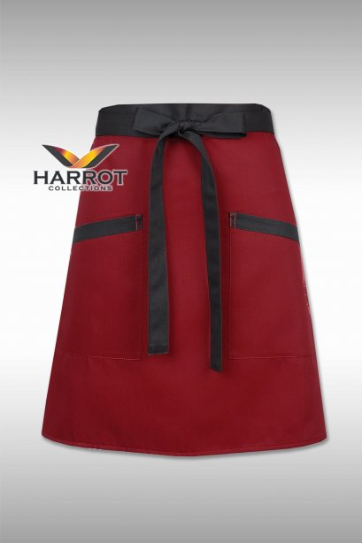 Burgundy Half Short Apron (Black Long Tie)