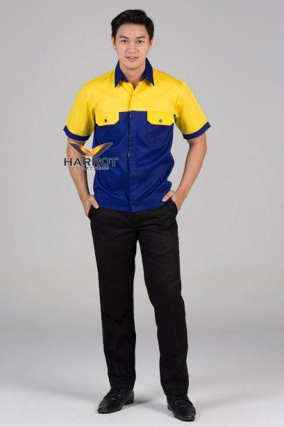 เสื้อช๊อป แขนสั้น สีน้ำเงิน-เหลือง
