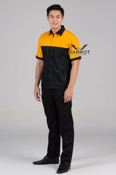 เสื้อช๊อป แขนสั้น สีดำ-เหลือง