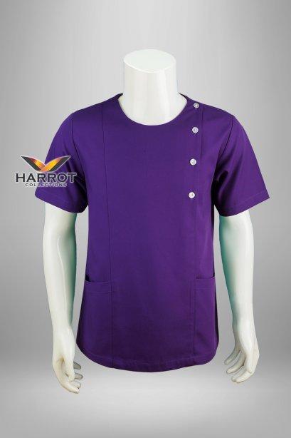 Purple short sleeve scrub shirt