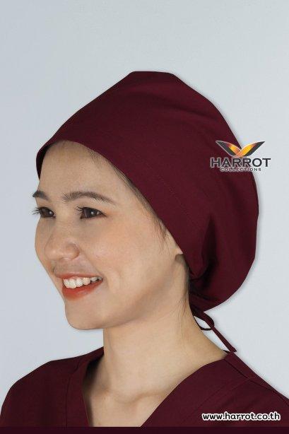 หมวกคลุมผม ห้องผ่าตัด สีเลือดหมู (HPC0107)