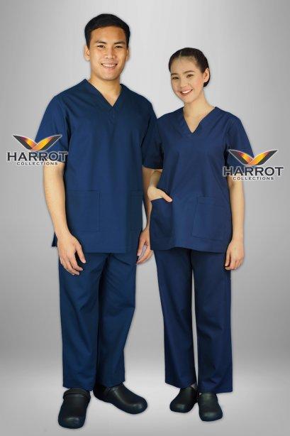 Dark blue short sleeve scrub set