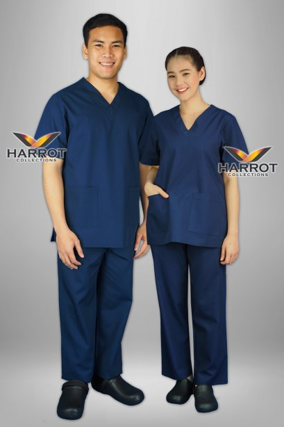 Dark blue short sleeve scrub set