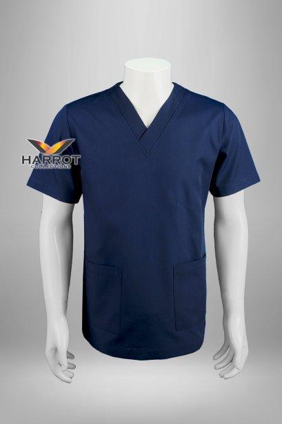 Dark blue short sleeve scrub shirt