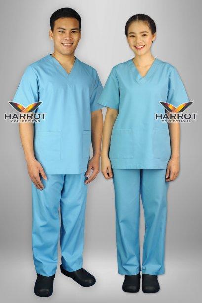 ชุดสครับ คอวี สีฟ้าอ่อน (เสื้อ+กางเกง)