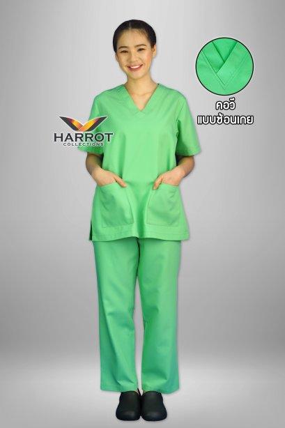 ชุดสครับ คอวี สีเขียวอ่อน (เสื้อ+กางเกง)