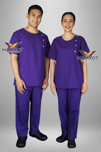Purple short sleeve  scrub set