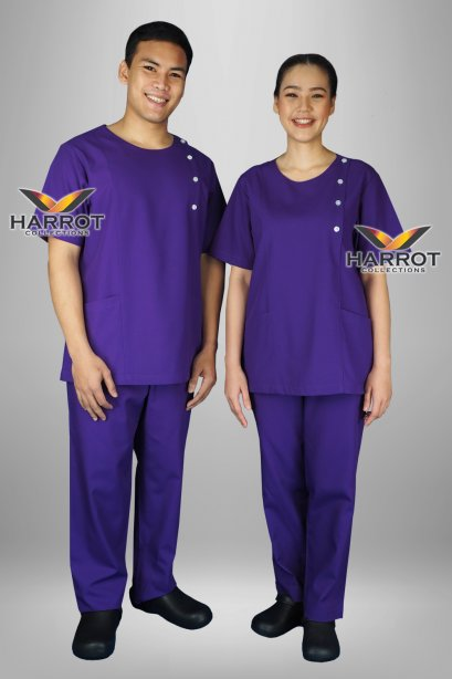 ชุดสครับ คอกลม สีม่วงเข้ม (เสื้อ+กางเกง)