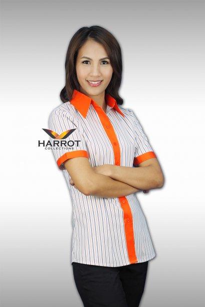 เสื้อพนักงานเสิร์ฟ ผ้าลาย แต่งปก,สาป และปลายแขนสีส้ม