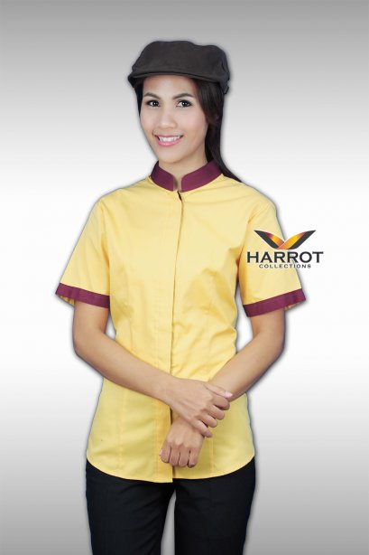 BURGUNDY COLLAR&CUFFS -YELLOW CHEF JACKET