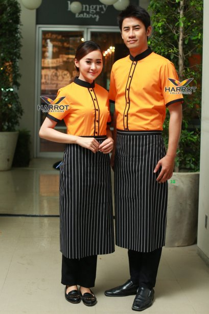 Black-Orange Waiter & Waitress Shirt