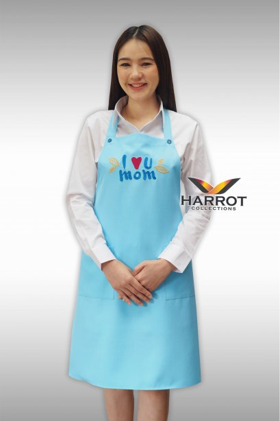 Blue Full apron with embroidered I love mom