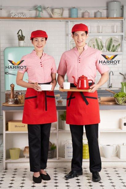เสื้อพนักงานเสิร์ฟ เสื้อเสิร์ฟ เสื้อเชิ้ต เสื้อฟอร์ม เสื้อพนักงานต้อนรับ ชุดพนักงานเสิร์ฟ คอวี สีแดง (SHW1602)