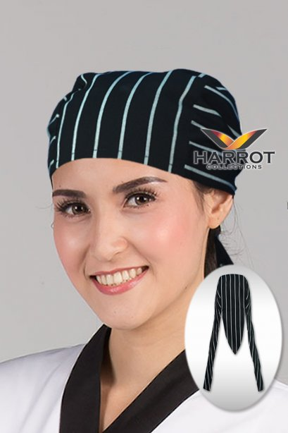 Black Chalk Stripe Long Head Wrap