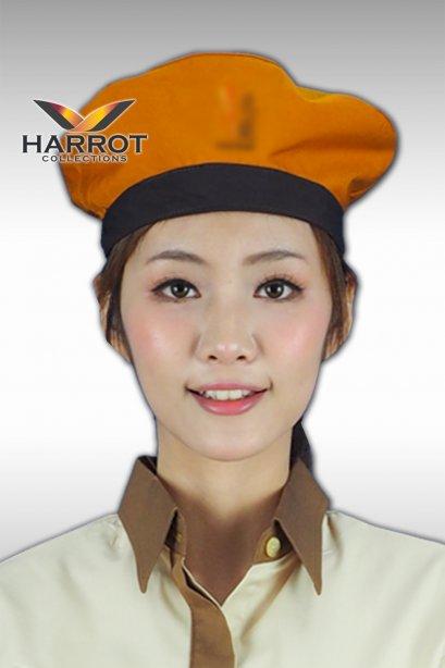 หมวกพนักงานเสิร์ฟ สีส้มแต่งสีดำ