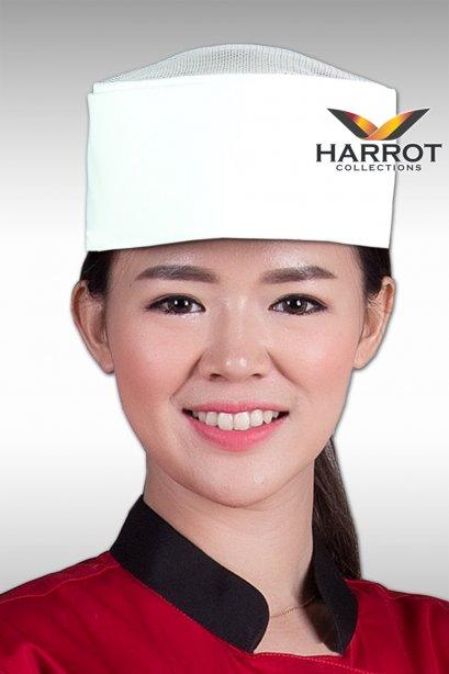 หมวกกุ๊กญี่ปุ่น สีขาวตาข่ายขาว