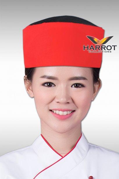 หมวกกุ๊กญี่ปุ่น สีแดงตาข่ายดำ
