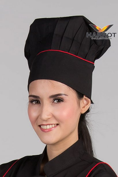 หมวกกุ๊กสากล หัวปิด สีดำกุ๊นแดง