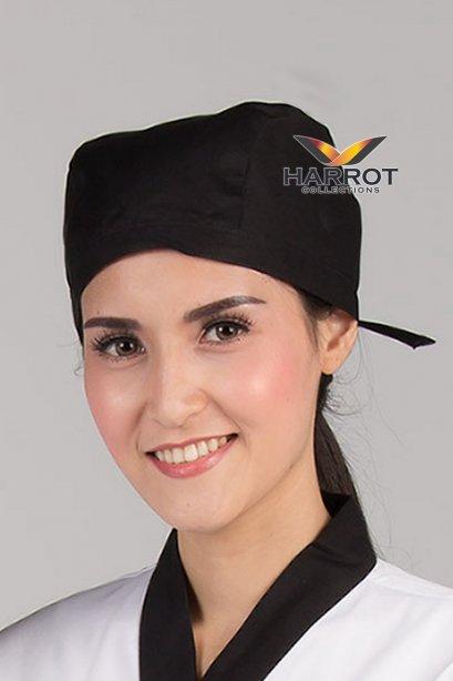 หมวกผูกเชือก สีดำ