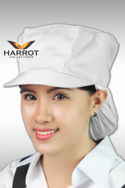 White Cooking Hat with Net