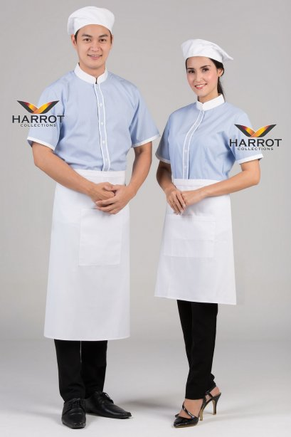 White-Blue Waiter & Waitress Shirt