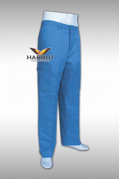 กางเกงช่าง ขายาวสีฟ้า กระเป๋าปะด้านข้าง