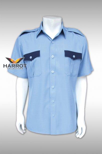 เสื้อช๊อป แขนสั้น สีฟ้า ฝากระเป๋าสีกรม