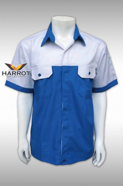 White-Blue Short Sleeve Shop Shirt