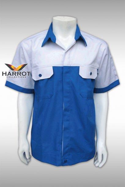 เสื้อช๊อป แขนสั้น สีขาว-ฟ้า