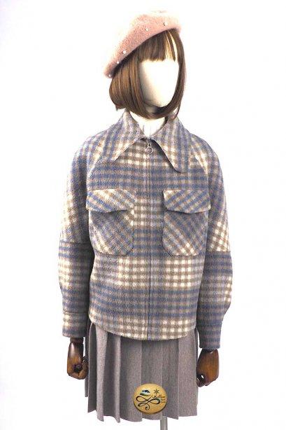 เช่าเสื้อโค้ทผู้หญิง รุ่น  Flint Blue Flower Madras  Pea Jacket902GJS261FABRF1