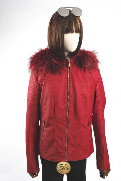 เช่าเสื้อกันหนาว รุ่น Fur Faux Vermillion Leather jacket 0911GJP546FAREL1