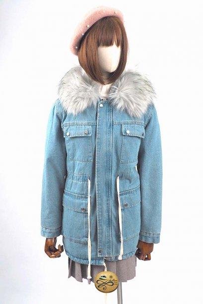 เช่าเสื้อขนเป็ด รุ่น  Fur Faux Denim Parka  904GJY361FABLXL1