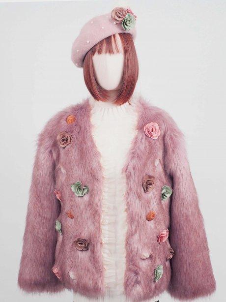 เช่าแจ็คเก็ตเฟอร์ รุ่น Fur Faux Rose Pink jacket909GJF532FAPKXL1