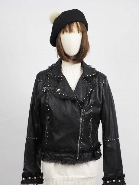 *** Limited Editon  เช่าแจ็คเก็ตหนัง  Raven Faux Leather Jacket902GJP243FABKS1